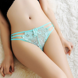 Wholesale Thongs Transparent Girls - Sexy Women Thongs Panties Hollow Out 7 Colors Low Waist Transparent Bandage Intimates Women Lingerie Underwear Girl Thongs