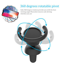 Wholesale clip air - Car Air Vent phone holder Car Mount Clip 360 degree Rotatable phone Clip Cellphone Hook Clasp