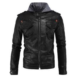 Wholesale leather jackets punk style men - New Retro Vintage Motorcycle Jackets Hooded Safari Coats Black Moto Jacket With Hat Hoodie Punk Style Leather Jacket Size M-5XL