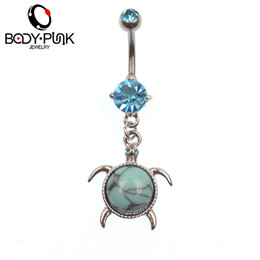 Wholesale Shiny Stainless Steel Rings - BODY PUNK Tortoise Navel Belly Button Rings Stainless Steel Shiny Blue CZ Body Piercings Women Beach Holiday Accessories NR 053