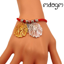 Deutschland Lion Animal Charm Armband Für Frauen Männer Paar Liebe Seil Männlich Weiblich Perle Rot Herz Schwarz Mädchen schmuck supplier black pearl jewelry for men Versorgung