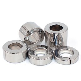 Wholesale scrotum stainless steel rings - 5 Sizes Magnetic Cock Ring Scrotum Pendant Ball Stretcher Testis Weight Metal Penis Training Ring Stainless Steel Sex Toys for Men