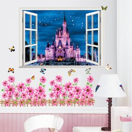 Wholesale Mural Princess - Hot sale Newest 3D Window Ancient Princess Castle home decals wall sticker for kids room girls bedroom mural poster