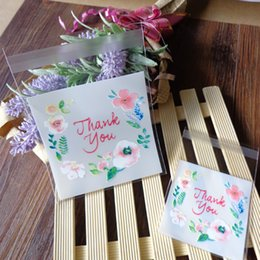 coating chemical Promo Codes - favor 300pcs 2 Size Choose Flower Thank you Self Seal Food Packing Cellophane , Flower Biscuit Plastic Party Favor
