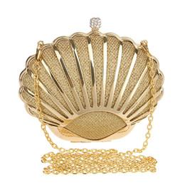 Goldschalenkupplung online-Frauen Luxus Designer Shell Dame Abend Handtasche Fashion Party Geldbörse Tag Clutch Hart Legierung brieftasche Kleine crossbody Taschen Gold
