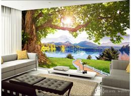 Mural do lago on-line-3d papel de parede personalizado foto Não-tecido mural Montanha lago árvore cenário paisagem decoração da sala de pintura imagem 3d parede muals papel de parede para paredes 3 d