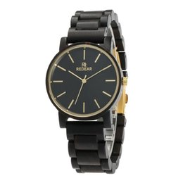 Orologio in legno nero di mens online-Ridiel Mens Watch Black Ebony Wooden Orologi Wood WristWatch Links Causal Quartz relogio masculino Gift