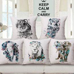 Wholesale Owl Handmade Pillow - Watercolor Elephant Lion Owl Cushion Covers 6 Styles Chief Feather Thick Linen Cotton Pillow Covers Bedrooom Sofa Decoration