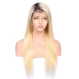 1bT # 613 parrucca umana in pizzo pieno senza glueless con capelli per bambini pre pizzicati 150 densità di capelli brasiliani di Remy Ombre parrucche bionde per capelli umani da