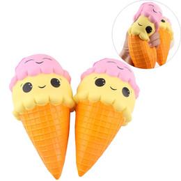 Wholesale Ice Cream Cone Toy - 16cm Jumbo Squishy Ice Cream Cone Smile Squishies Toy Big Scent Slow Rising Food DHL Free Shipping SQU034