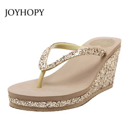 Wholesale Thick Bottom Flip Flops - JOYHOPY Bling Wedge Platform Shoes Woman Slipper Women High Heels Beach Sandals Summer Ladies Thick Bottom Flip Flops WS1638