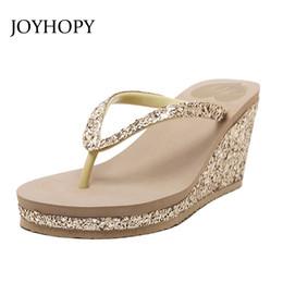 Wholesale Flat Sandals Bling - JOYHOPY Bling Wedge Platform Shoes Woman Slipper Women High Heels Beach Sandals Summer Ladies Thick Bottom Flip Flops WS1638