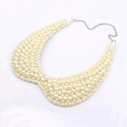 Wholesale Vintage Pearl Collar Necklace - whole sale2016 Vintage Alloy Black White Imitation Pearls Beaded Choker Necklaces Fake Collar sweater chain Necklace Women 's Clothing
