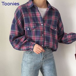 Wholesale ladies blouses sale - Women Plaid Blouse 2018 New Spring Harajuku Blouse Streetwear Loose Women Tops and Ladies Shirt Hot Sale Womens Clothing