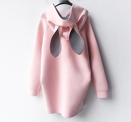 Wholesale Tea Length Cotton Casual Dresses - New Autumn Winter Pregnant Women Dress Rabbit Ears Hooded Sweater Casual Pregnant Loose Maternity Dresses Plus Size