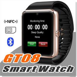 2019 montre en cours d'exécution mp3 GT08 montre intelligente Bluetooth avec fente pour carte SIM et surveillance de la santé NFC pour Android Samsung et IOS Bracelet Apple Smartphone Bracelet Smartwatch