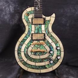 Guitarras con incrustaciones de abulón online-Envío gratis 2018 ventas del fabricante Custom Shop Abalone Inlay guitarra eléctrica con Dragon Inlay personalizado en guitarra disponible