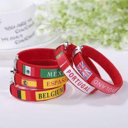 Geflochtene armbänder online-2018 Russland WM Geschenk Land Welt Flagge Logo Geflochten Sport Armband Fußball Fans Elastische Handgelenk Band ID Armband Souvenir Gif