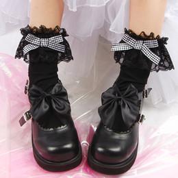2019 calcetines universitarios Calcetines japoneses Lolita Lace Big Lace College Wind Tube Socks Lolita Bow Soft Socks calcetines universitarios baratos