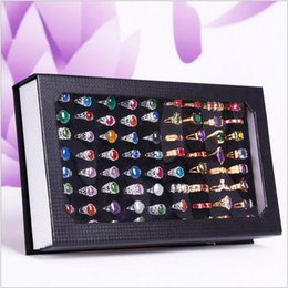 Wholesale Leather Pendant Box - Lanolin Jewelry Display Stand fashion rings Display Holder 72 seat rings box Jewellery Pendant rings Display Rack seat storage