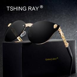 Ray sonnenbrille online-TSHING RAY Fashion Gothic Schädel Randlose Cat Eye Sonnenbrille Frauen Männer Vintage Cameo Beine Übergroße Cateye Sonnenbrille Für Weibliche