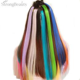 Extensiones de cabello largo colorido online-StrongBeauty Mujeres Extensión colorido largo clip sintético en recta postizo Parte destaca punk postizos