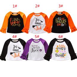 2019 kinder kräuselten t-shirts Halloween Baby Mädchen Brief Druck T-shirts 2018 Herbst Rüschen Langarm Shirt Tops Baumwolle INS Kinder T-Shirts Kinder Kleidung günstig kinder kräuselten t-shirts