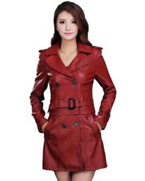 Frauen Top Fashion Neue Winter Schlank Dual Use Pu Abnehmbare Damen Faux Synthetische Lange Leder Trenchcoat Weibliche Lederjacke von Fabrikanten