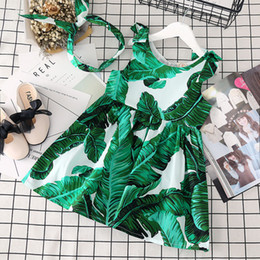 vestido verde sin mangas Rebajas Niñas bebés Vestido de playa con estampado de hojas verdes Niños florero hoja de plátano vestido de princesa 2018 boutique de verano para niños Ropa
