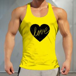 sottogonne gialle Sconti 2018 Uomo giallo Top senza maniche in cotone Gym Sport Running Tees Canotta Fitness Stringer Muslce Magliette