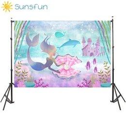 Spray a roccia online-Sunsfun 7x5FT Little Mermaid Coralli Rocce Sedia Personalizzata Photo Studio Sfondo Fondale in vinile 220cm x 150cm