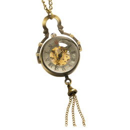 Wholesale Skeleton Watch Necklace - Vintage Unisex Transparent Glass Ball Shape Fob Hand Winding Mechanical Pocket Watch Bronze Necklace Chain Roman Numeral Skeleton Clock Gift