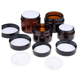 Wholesale Black Glass Jars - 20g 30g 50g Amber Glass Jar Pot cosmetic eye Cream jar Cosmetic Bottle Container Makeup Tool With Black Lid 042