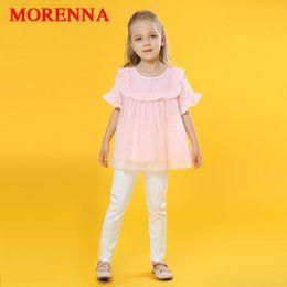Wholesale Cotton Mesh Shirts - MORENNA Baby Girls Clothes Set 2018 New Summer Fashion O-neck Pink Mesh Shirt + White Trousers Princess 2pcs Kids Clothing Suit