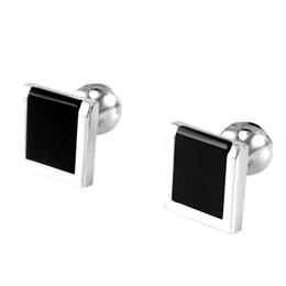 2019 gemas de punho SAVOYSHI Low-key Luxo Black Bottons Pedra para Homens Com Caixa de Acessórios Francês Camisa Cuff Bottons Quadrado CuffLinks Homens Presente Da Jóia gemas de punho barato