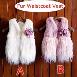 Wholesale girls white fur coats - INS Girls Fur Waistcoat Vest Kids Clothes Autumn Winter Baby Girls Vest Warm Fashion Cardigan Coat Outerwear With Flower Brooch