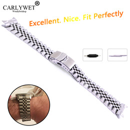 Acero inoxidable curvado de 22mm online-22mm Hollow Curved End Solid Screw Links Acero inoxidable Silver Watch Band Correa Old Style Jubilee Pulsera Double Push Corchete
