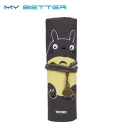 Wholesale Totoro Cosmetic Bag - My Neighbor Totoro PU Leather Makeup Brushes Bag Cosmetics Case Brushes Protect Pouch 9 Slots Storage Bag Gift
