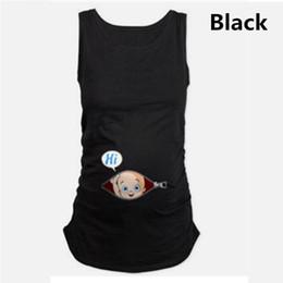 Tops longos longos sem mangas on-line-Maternity T-Shirts Cotton Baby Printed Sleeveless Loose Tank Tops Women tshirt Pregnancy T Shirt Summer Pregnant Long Tee Shirts