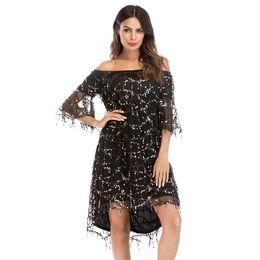 Vestido curto de mulheres de lantejoulas on-line-2018 bling preto vestidos de noite com mangas meia fora do ombro lantejoulas na altura do joelho vestidos de festa curtos para o clube noite mulheres formais