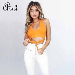 Wholesale U S T Shirts - Summer Style Halter Jersey Tee Women Orange Camisole Crop Top Cropped Jogger Instagram Blog Casual Boho Sexy U Neck Knot T Shirt