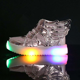 Wholesale Wing Flats - EU21-36 Children Shoes With Light New Fashion Glowing Sneakers Boys Little Girls Shoes Wings Canvas Flats Spring Kids Light Up Shoes