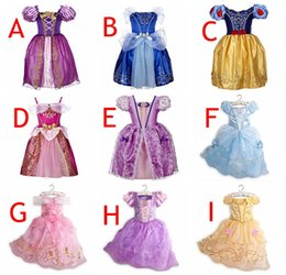 Wholesale Cosplay Gowns - 9Styles Girls princess Lace Party dresses New kids fashion cosplay bowknot Bows dresses baby Pink purple blue dress skirt 2-8years free ship
