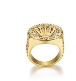8d18f17e1739 ... Gold Crown rings anillo de los hombres 316L logotipo de lujo de acero  inoxidable DJ DJ calle oro color de acero inoxidable joyería de moda al por  mayor
