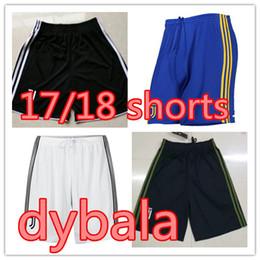 Wholesale Football Pants Black - DYBALA home away black blue Soccer shorts 2017 2018 Buffon MARCHISIO HIGUAIN DANI ALVES MANDZUKIC Serie A Football shorts pants
