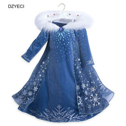 Wholesale girls cotton frocks - New Snowflake Dress For Baby Girl Costume Snow Queen Children Lace Princess Frock Cosplay Kid Cartoon Bridesmaid Dress