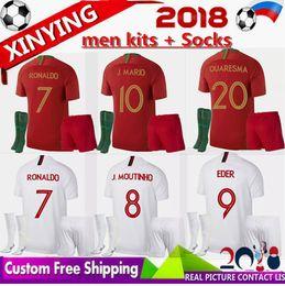 Wholesale Shirt Mario - 2018 World Cup Portugal kits socks soccer Jersey 18 19 RONALDO home away GUEDES BERNARDO MARIO ANDRE SILVA GOMES men Football kit Shirt