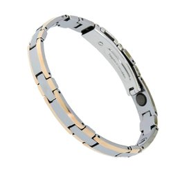 fashion magnetic therapy bracelet UK - New Fashion 38 Tungsten Steel Hologram Bracelets Bio Power Healthy Magnetic Therapy Bracelet Germanium Bracelet for Women Men