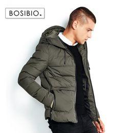 Мужская куртка с зеленым капюшоном онлайн-BOSIBIO 2018 зимние мужские куртки мода теплые сгущает мужской парки с капюшонами армия зеленый пиджаки новое поступление 6665