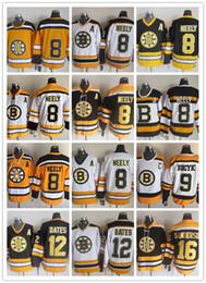 Желтые хоккейные майки онлайн-СКК Новые мужчины сшитые Бостон Брюинз # 8 NEELY / # 9 BUCYK / # 12 OATES / # 16 SANDERSON Белый Желтый Черный СКК Хоккей Трикотажные изделия